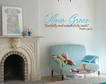 Child's Name personalized monogram with scripture wall decal
