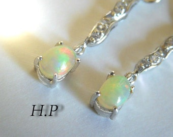 Hand made by Heda Partovi ( H.P ) Sterling Silver Natural Opal /CZ & Marcasite Earrings