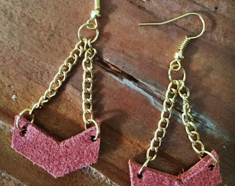 Recycled leather and gold chain earrings