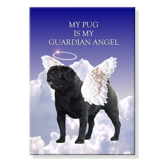Pug Guardian Angel Fridge Magnet Black
