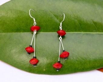 Natural Red Sandalwood Drop Earrings