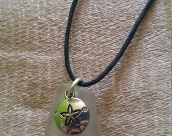 Authentic Sea glass with sand dollar charm necklace
