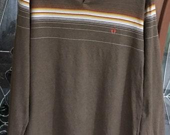 Rare!!! Vintage Hang Ten Long Sleeve Stripes Striped Medium Size T-shirt