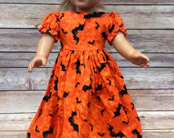 American Girl or 18 inch Doll Dress orange with bats Halloween Print