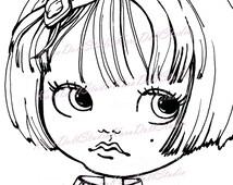 INSTANT DOWNLOAD, Digi stamp, Children's stamps, Coloring Pages, Big Eyes, Stamping printable, Doll stamp, Blythe Doll K-10