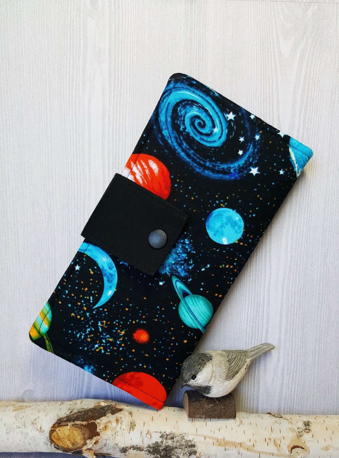 Outer space theme women 39 s wallet fabric clutch wallet for Space inspired fabric