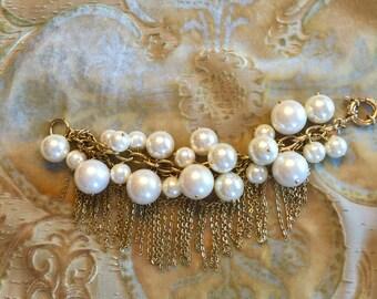 Vintage J Crew Fringe and Cluster Pearl Bracelet