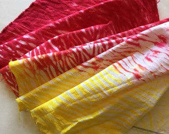Fire Red and Bright Yellow linen cotton blend, (1/2 yard) pole shibori