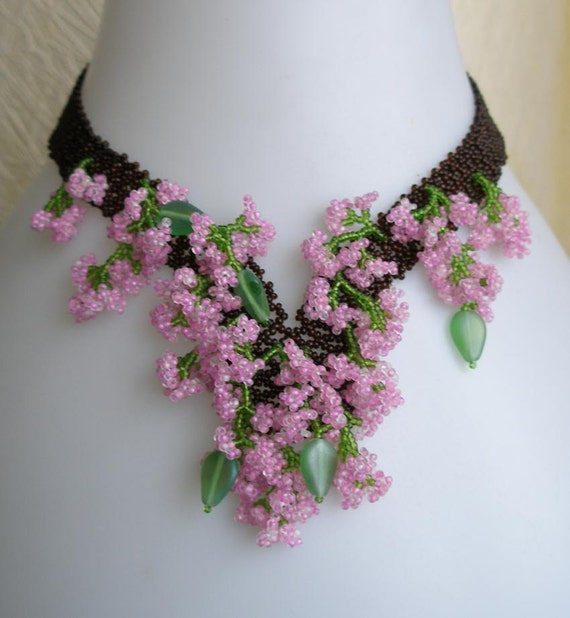 Pattern Seed Beaded Apple Blossom Flower Necklace Instructions