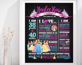 Princesses, Disney Princess Birthday Custom Chalkboard Poster Sign