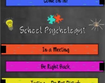 school psychologist door sign with arrow