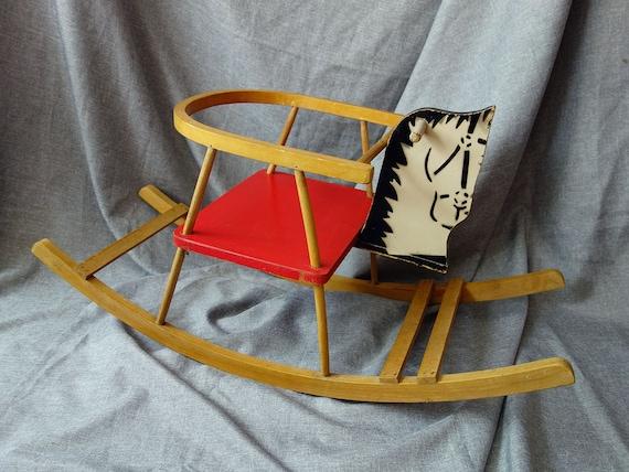 Rocking Horse Seat ~ Items similar to big vintage wooden rocking horse rocker