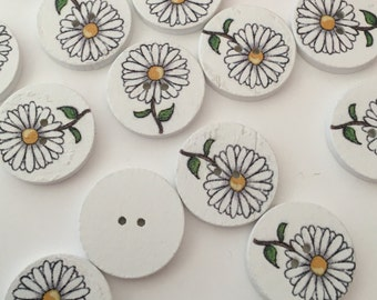 White flower buttons, wooden flower buttons, 20mm buttons, wood buttons, white painted, daisy flower buttons, craft buttons, Pack of 10
