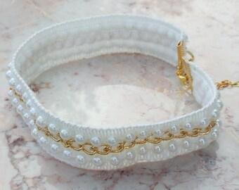 WEDDING BELLS pearl & chain choker