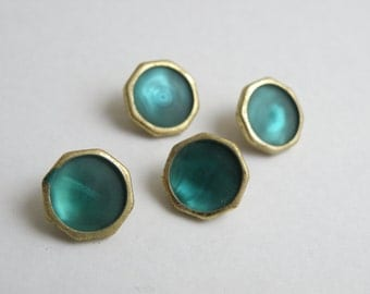 4 Vintage Teal and Gold Buttons *Medium*