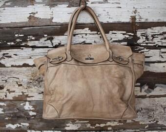 Italian Stone Leather Strap Handbag- SALE
