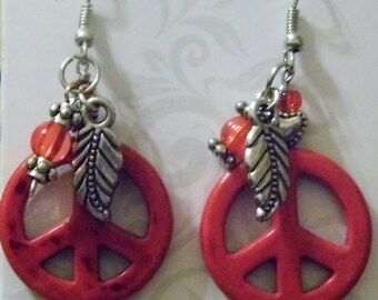 Coral peace sign earrings