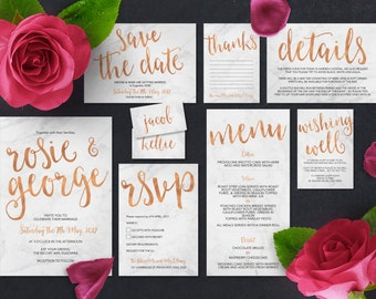 Printable Wedding Invitation Set | Rosie Set | Marble Rose Gold Wedding Invite | Wedding Invitations | Save the Date | RSVP | Wishing Well