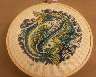 Pisces Completed Cross Stitch