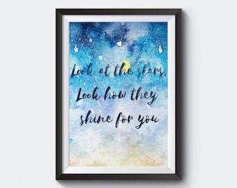 Look at the Stars - Coldplay Lyrics - Digital Decor - Instant Download - Typography - Chris Martin - Wedding Gift - Wall Art - Wall Decor