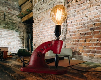 Vintage industrial desk lamp mood lamp made from an old press