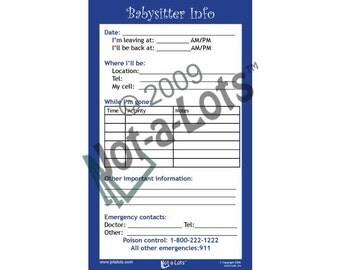 Jot-A-Lots Babysitter Info Notepad