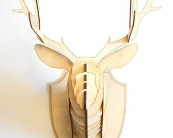 BIG STAG Wooden Deer Head Trophy 60 cm! Birch Wood Head Wall Art  Animal wall decor  scandinavian