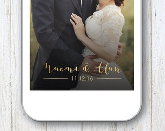 Gold Snapchat Filter, Gold Wedding Geofilter, Romantic Geofilter, Classic Wedding Filter, Snapchat, Wedding Day, Classy, Elegant, Custom