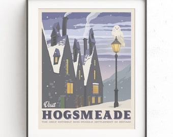 Hogsmeade village. Retro travel poster. Harry potter. Vintage illustration. Geekery art. Movie poster. Butter beer. JK Rowling. Muggles