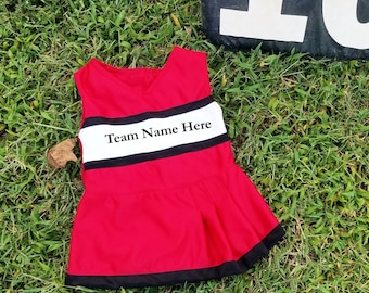 Girls cheerleader outfit (red, white and black)