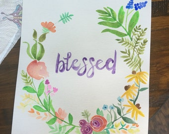 Blessed Floral Watercolor