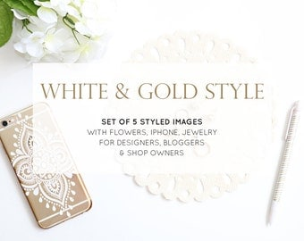 Set of 5 Photos: Blogger Stock Photography | Styled Desktop | Gold, White, iPhone, Flowers, Jewelry