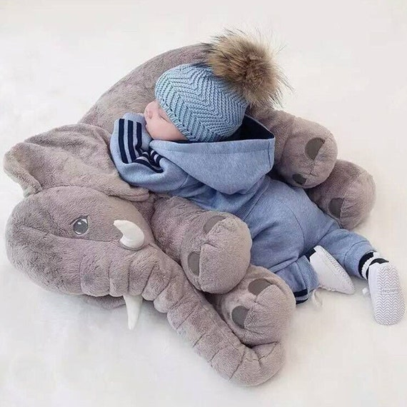 Stuffed Plush ELEPHANT Toy PILLOW Big Cute by TheElephantStore