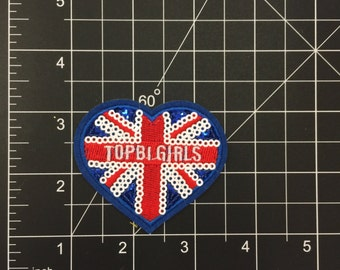 UK Sequin Heart Iron on Patch Free Shipping!!