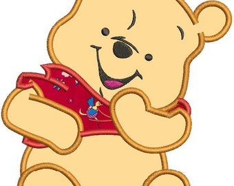 Winnie the Pooh Applique Machine Embroidery Design 3 sizes instant download