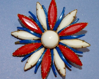 Vintage Red, White & Blue Flower Brooch