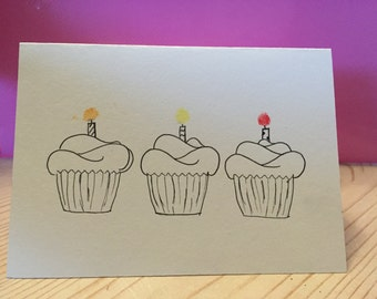 Birthday card - Little Cupcakes birthday card - handmade - individually hand drawn and stamped