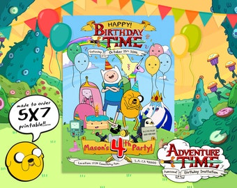 Adventure Time Invitation, Adventure Time Birthday, Adventure Time Party