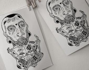 False Gods A3 Lino Print