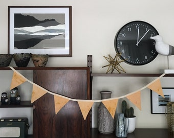 Orange Hand Dyed Paint Effect Fabric Bunting - Handmade by BNTNG