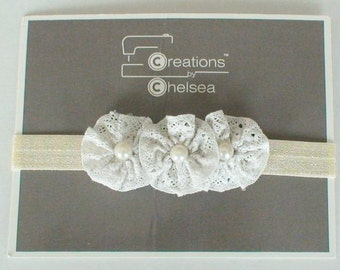 Small Lace Trio Flower Headband NB