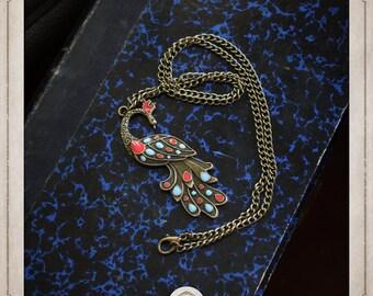 Peacock necklace silver art nouveau COP017