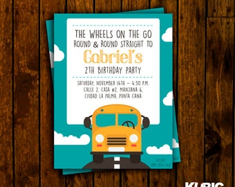Bus birthday invitation, birthday boy invitation, printable invitation