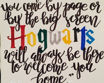 Hand lettered Hogwarts Quote Illustration