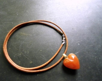 Necklace, Carnelian, Heart, Pendant, Leather Band, orange, Love, Gift