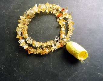 Necklace, Chakra necklace, Citrine, Solar Plexus Chakra, Cocoon, Silk, yellow