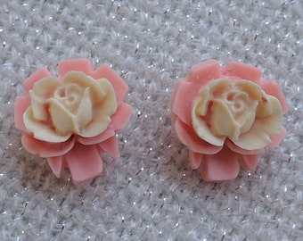 Pink and White Rose Resin Earrings