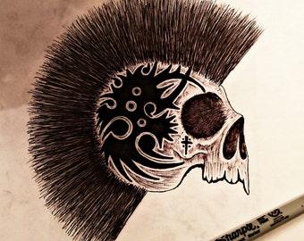 Skull with mohawk framed custom art