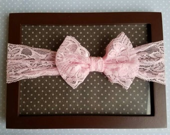 3 month - Toddler pink lace headband, hairbow
