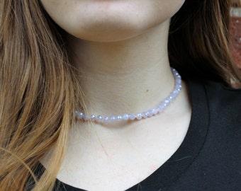 Lavender Crystal Beaded Choker